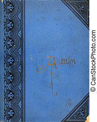 álbum, vendimia, cubierta, foto