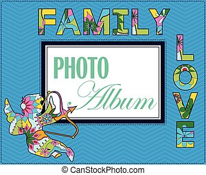 álbum, weddng, cubierta, familia