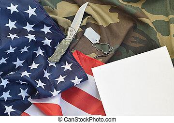 álcáz, címke, tiszta, fekszik, papírvágó kés, egyenruha, hadsereg, nyaklánc, amerikai, kutya, lobogó