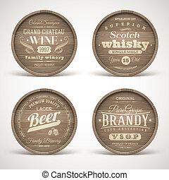 álcool, bebidas, barris, madeira