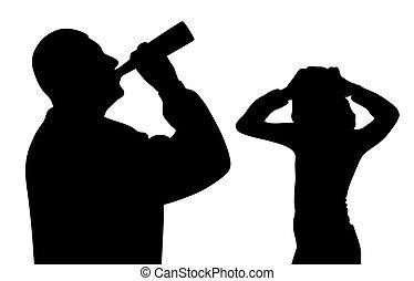 álcool, cabeça, bebendo, assustado, segurar passa, preocupado, criança, pai