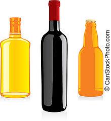 álcool, garrafas, isolado