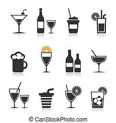 álcool, um, ícone