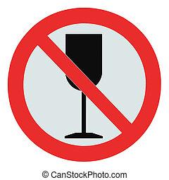 álcool, zona, não, sinal, bebida, isolado, proibição,...