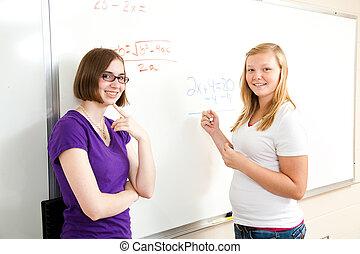 álgebra, clase, -, muchachas adolescentes