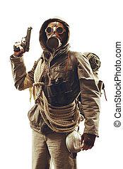 állás, apocalyptic, túlélő, alatt, gáz álarc