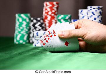 állás, egy, piszkavas, player., játékpénz, és, kártya