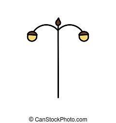 állás, lámpa icon, utca csillogó
