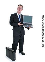 álló, üzletember, laptop, nyit aktatáska