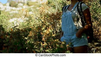 álló, csípő, vidéki táj, kiránduló, 4k, női kezezés