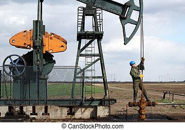 álló, csővezeték, olaj munkás, pumpa orrárboczászló, ellenőriz