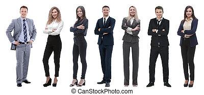 álló, csoport, ügy emberek, sikeres, row.