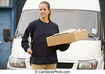álló, deliveryperson, csipeszes írótábla, furgon, doboz