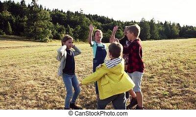 álló, elgáncsol, csoport, mező, playing., gyerekek, izbogis,...