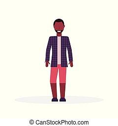 álló, fárasztó, mód, lakás, póz, betű, elszigetelt, kényelmes, hosszúság, tele, ember, african american hím, karikatúra, öltözék