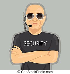 álló, fegyver, őr, keresztbe tett, biztonság, szemüveg