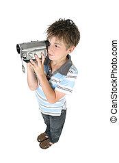 álló, fiú, fényképezőgép, video, digitális, használ