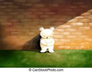 álló, fogalom, teddy-mackó, elvont, bús, ábra, elhagyott, hord, egyedül, fehér
