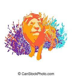 álló, hím, elvont, egy, oroszlán, bushes.