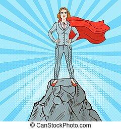 álló, hegy, nő, művészet, ügy, váratlanul, magabiztos, csúcs, illeszt, köpeny, super hős, piros