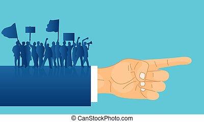 álló, irány, politikus, tolong, emberek, protesters, kéz, vektor, szalagcímek, javalló