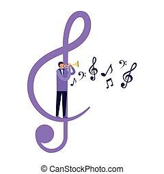 álló, jegyzet, zene, hallócső, játék, ember