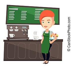 álló, kávécserje, machine., barista