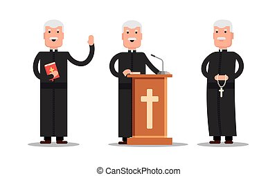 álló, különböző, állhatatos, betű, lelkipásztor, ábra, elszigetelt, prédikátor, háttér., poses., vektor, tribün, biblia, kereszt, fehér, ember, részvény