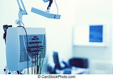 álló, laboratórium, feláll, eeg-t csináló gép, becsuk