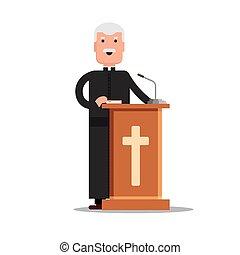 álló, lakás, mód, betű, -, lelkipásztor, ábra, elszigetelt, prédikátor, háttér., kereszt, vektor, tribün, biblia, fehér, ember, részvény