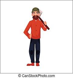 álló, lumberman, favágó, birtok, fejsze, woodcutter