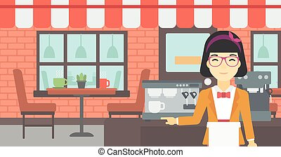 álló, machine., barista, kávécserje