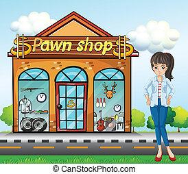 álló, mellett, hölgy, pawnshop