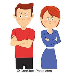 álló, nézetletérés, párosít, birtoklás, probléma, fiatal, boldogtalan, házastársi, kereszteződnek fegyver, vagy