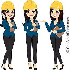 álló, nő, építészmérnök