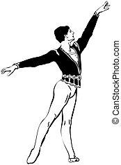 álló, skicc, póz, balett-táncos, hím