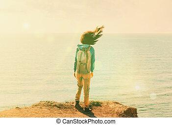 álló, szeles, nő, időjárás, partvonal