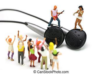 álló, szem, énekes, kisméretű, gitár játékos, pár, fül