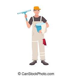 álló, szolgáltatás, öltözött, elszigetelt, egyenruha, háttér., ablak jó, fehér, ember, boldog, lakás, wiper., birtok, színes, munkás, takarítás, karikatúra, háztartás, illustration., vödör, vektor, hím