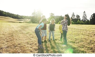 álló, természet, playing., mező, gyerekek, elgáncsol,...