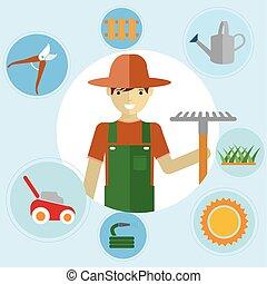 álló, tools., activities., kert, ikonok, környezeti, állhatatos, kertész, kertészkedés, -eik, ember