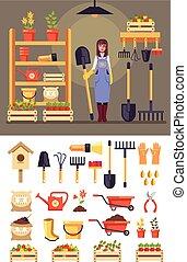 álló, vidám woman, állhatatos, kertészkedés, ikon, lakás, concept., grafikus, betű, elszigetelt, ábra, vektor, tools., tervezés, mosolygós, gazdálkodás, mezőgazdaság, karikatúra, kertész, istálló