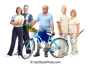 állóképesség, bicycle., csoport, öregedő emberek