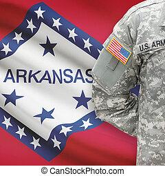 állam, -, amerikai, bennünket, katona, lobogó, arkansas, háttér