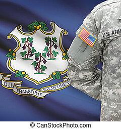 állam, -, amerikai, bennünket, katona, lobogó, connecticut, háttér