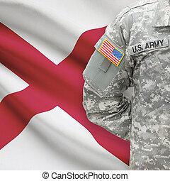 állam, -, amerikai, bennünket, katona, lobogó, háttér, alabama