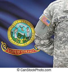 állam, -, amerikai, bennünket, katona, lobogó, háttér, idaho