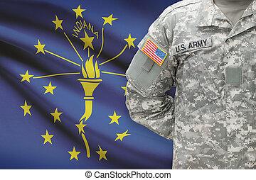 állam, -, amerikai, bennünket, katona, lobogó, háttér, indiana