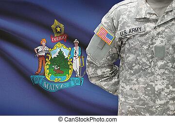 állam, -, amerikai, bennünket, katona, lobogó, háttér, maine