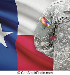 állam, -, amerikai, bennünket, katona, lobogó, háttér, texas
